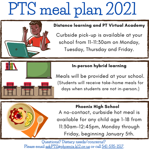 An image showing meal pick-up options for distance learning, in-person learning, and other scenarios.