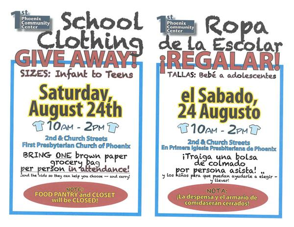 School Clothing Give Away Saturday, August 24th